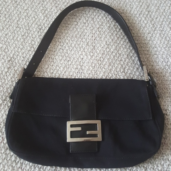 039c59251179 Fendi Handbags - Fendi neoprene black leather trim baguette